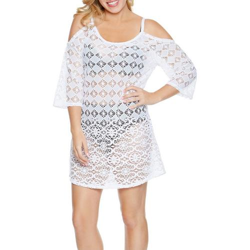 0ebfd70bc38e2 Wearabouts Womens Diamond Lace Cold Shoulder Cover-Up