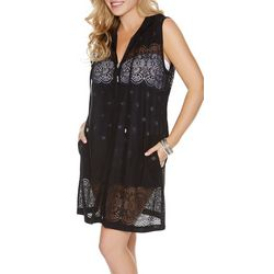 Wearabouts Womens Lace Zippered Swim Cover-Up