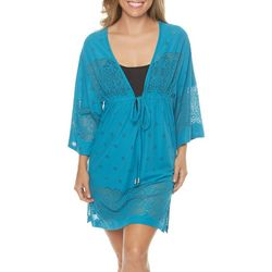 Wearabouts Womens Kimono Solid Lace Swim Cover-Up