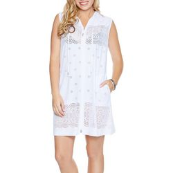 Wearabouts Womens Floral Lace Zippered Hooded Swim Cover-Up