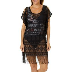 Wearabouts Womens Medallion Lace Fringe Tunic Swim Cover-Up