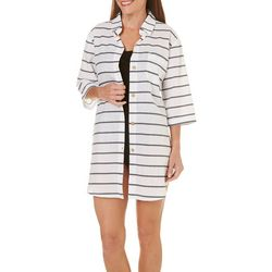 Wearabouts Womens Going Nautical Stripe Button Down Cover-Up