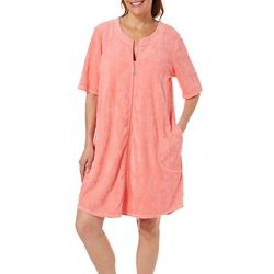 Paradise Bay Womens Pineapple French Terry Zip Cover-Up