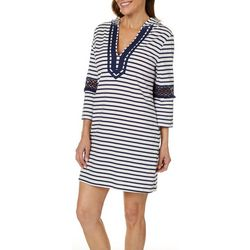 Paradise Bay Womens Stripe Crochet Hooded Swim Cover-Up