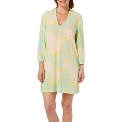 Paradise Bay Womens Palm Print Hooded Swim Cover-Up