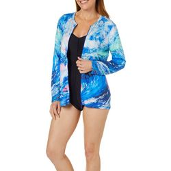 Leoma Lovegrove Womens Tsunami Swim Cover-Up Jacket