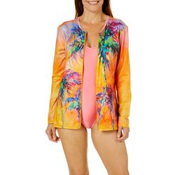 Leoma Lovegrove Womens Parade Palm Zipper Swim Cover-Up