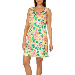 Paradise Bay Womens Cactus Flower Dress Swim Cover-Up