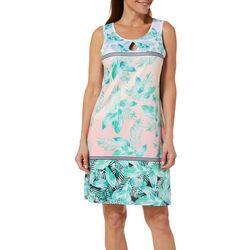 Paradise Bay Womens Palm Stripe Dress Swim Cover-Up