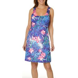 Paradise Bay Womens Tropical Empire Waist Swim Cover-Up