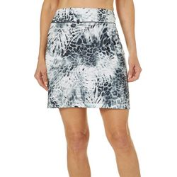 Paradise Bay Womens Palm Print Swim Cover-Up Skirt