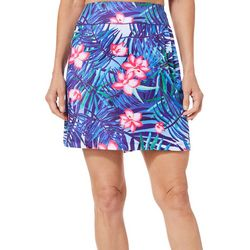 Paradise Bay Womens Floral Leaf Swim Cover-Up Skirt