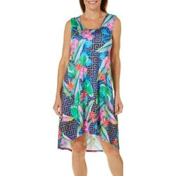 Paradise Bay Womens Geometric Floral Racerback Swim Cover-Up