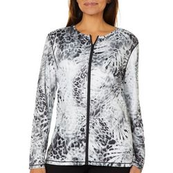 Paradise Bay Womens Animal Print Zipper Swim Cover-Up Jacket