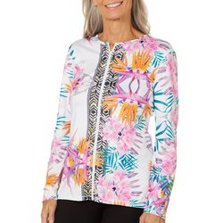 Paradise Bay Womens Birds of Paradise Zipper Cover-Up Jacket