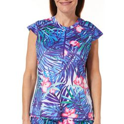 Paradise Bay Womens Floral Leaf Lace Back Swim Cover-Up Top