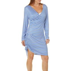 Paradise Bay Womens Stripe Print Side Ruched Swim Cover-Up