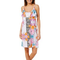 Paradise Bay Womens Birds of Paradise Ruffle Swim Cover-Up