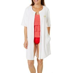 Paradise Bay Womens Golden Palm French Terry Zip Cover-Up