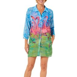 Leoma Lovegrove Womens Flamingo Crossing Shirt Cover-Up