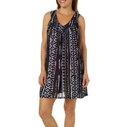 Studio West Womens Tribal Stripe Swim Cover-Up
