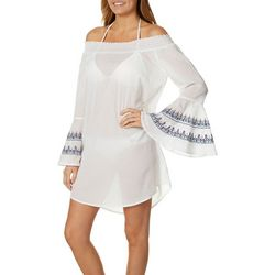 Studio West Womens Embroidered Bell Sleeve Swim Cover-Up