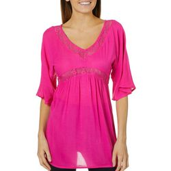 Studio West Womens Solid Lace Trim Swim Cover-Up