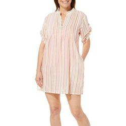 Studio West Womens Vertical Stripe Shimmer Swim Cover-Up