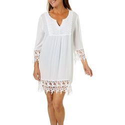 Studio West Womens Crochet Detail Tunic Swim Cover-Up