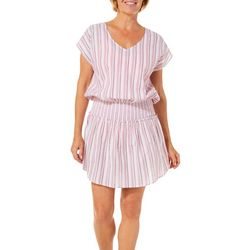 Studio West Womens Stripe Smocked Tunic Swim Cover-Up