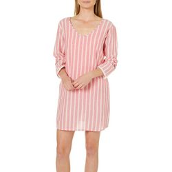 Studio West Womens Vertical Stripe Tunic Swim Cover-Up