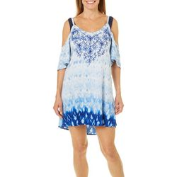 Studio West Womens Cold Shoulder Embroidered Swim Cover-Up