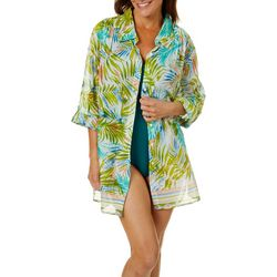 Beaches & Boho Womens Fern Print Button Down Cover-Up