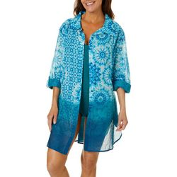 Beaches & Boho Womens Tie Dye Button Down Cover-Up