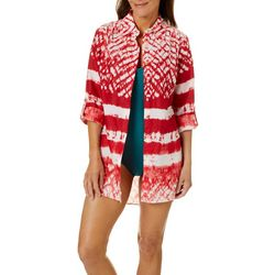 Beaches & Boho Womens Tie Dye Stripe Button Down Cover-Up