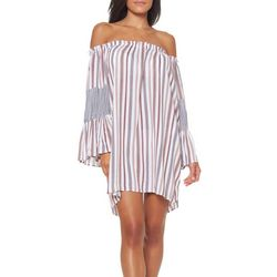 Jessica Simpson Womens Line It Up Off The Shoulder Cover-Up