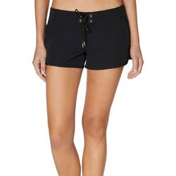 Nautica Womens Solid Lace Up Swim Shorts