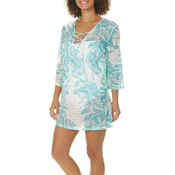 Pacific Beach Womens Leaf Print Stripe Swim Cover-Up