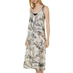 Pacific Beach Womens Button Down Floral Midi Dress