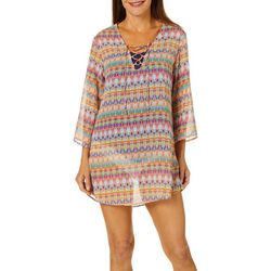 Pacific Beach Womens Ikat Print Lace Front Swim