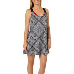 Pacific Beach Womens Scarf Print Macrame Back Dress Cover-Up