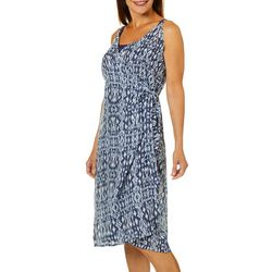 Pacific Beach Womens Surplice Printed Wrap Dress Cover-Up