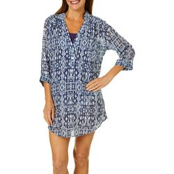 Pacific Beach Womens Ikat Print Henley Shirt Dress Cover-Up