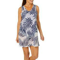Pacific Beach Womens Palm Stripe Sleeveless Swim Cover-Up
