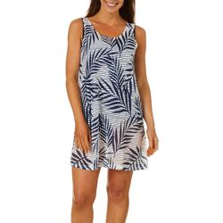 Pacific Beach Womens Palm Stripe Lattice Back Swim Cover-Up
