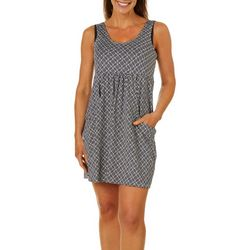 Pacific Beach Womens Tile Print Pocket Swim Cover-Up