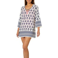 Pacific Beach Womens Venitian Tunic Swim Cover-Up
