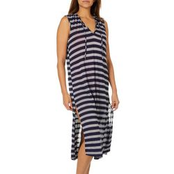 Pacific Beach Womens Stripe Hooded Maxi Swim Cover-Up