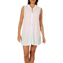 Pacific Beach Womens Shoreline Hooded Swim Cover-Up