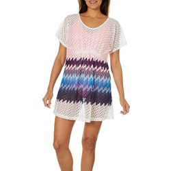 Pacific Beach Womens Ombre Crochet Swim Cover-Up